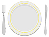 Vector clipart: image plates with gold rim with fork and knife