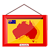 Red frame with glass with the flag of Australia | 向量插图