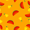 Vector clipart: seamless texture with pear and slice of watermelon