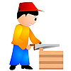 Carpenter with chainsaw | Stock Vector Graphics