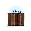 Blue bird on wooden fence | Stock Vector Graphics