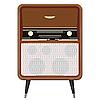 Vector clipart: an old radio on the legs