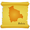 Vector clipart: parchment with silhouette of Bolivia