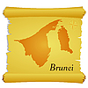 Vector clipart: parchment with silhouette of Brunei