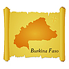 Vector clipart: parchment with silhouette of Burkina Faso