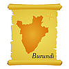 parchment with silhouette of Burundi