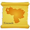 Векторный клипарт: пергамент с силуэтом Венесуэле