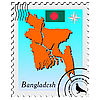 Vector clipart: stamp with the image maps of Bangladesh