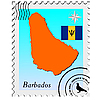 Vector clipart: stamp with the image maps of Barbados