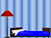 Vector clipart: Bed and floor lamp