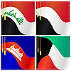 Collection of s of flags of Iraq, Yemen, Cam