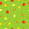 seamless texture with carrots, tomatoes, lemon and peach