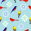 Vector clipart: seamless texture with birds and flowers