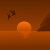Vector clipart: sunrise and flying seagulls