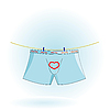 Vector clipart: men`s underwear on the rope