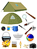 Vector clipart: collection of tourist accessories