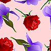 Vector clipart: Seamless texture with rose and iris