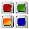 Square buttons on metal background