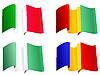 Vector clipart: National flags Guinea, Romania, Nigeria, Italy