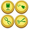 Vector clipart: Golden buttons