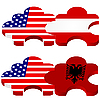 puzzle with national symbolics of United States America,