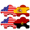 Vector clipart: puzzles with national symbolics of United States America,