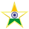 Gold star with flag of India