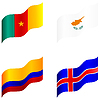 Vector clipart: Set of flags of Cameroon, Cyprus, Colombia, Iceland