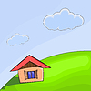 Small house on the hill | Stock Vector Graphics