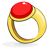 Vector clipart: Gold ring with ruby