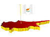 Vector clipart: three-dimensional image map of Cyprus with national flag