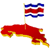 three-dimensional image map of Costa Rica with national flag