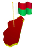 three-dimensional image map of Madagascar with national flag