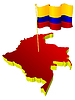 three-dimensional image map of Colombia with national flag