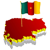 three-dimensional image map of Cameroon with national flag