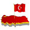three-dimensional image map of Turkey with national flag