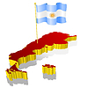 three-dimensional image map of Argentina with national flag