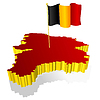 three-dimensional image map of Belgium with national flag