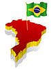 three-dimensional image map of Brazil with national flag