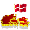 Vector clipart: three-dimensional image map of Norway with national flag