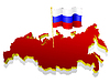 three-dimensional image map of Russia with national flag