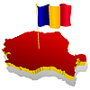 three-dimensional map of Romania with national flag