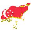 Vektor Cliparts: 3D-Landkarte von Singapur