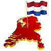 Vector clipart: map of Netherlands with national flag