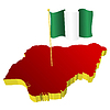 three-dimensional image map of Nigeria with national flag