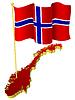 Vektor Cliparts: dreidimensionales Bild - Landkarte von Norwegen mit Nationalflagge