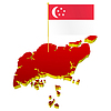 three-dimensional image map of Singapore with national flag