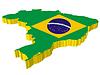 Vektor Cliparts: 3D-Landkarte von Brasilien