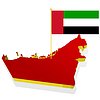 map of United Arab Emirates with national flag