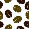 Vektor Cliparts: Schwarze und grüne Kaffeebohnen. Nahtlose Textur.